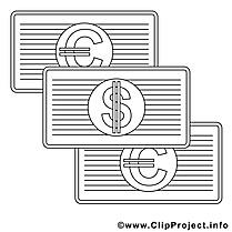 Billets clip art gratuit – Économie à colorier