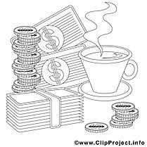 Café argent image – Économie images à colorier