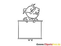 Clip art gratuit cochon – Économie à colorier