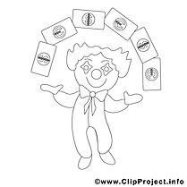 Clown dessin à télécharger – Économie à colorier
