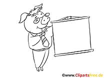 Cochon plan clipart gratuit – Économie à colorier