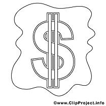 Dollar clip art gratuit – Économie à colorier