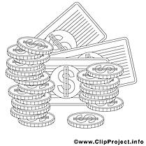 Dollars image gratuite – Économie à colorier