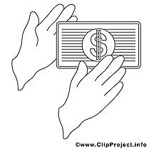 Mains dollar clipart – Économie dessins à colorier