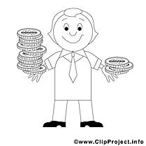 Monnaies clipart – Économie dessins à colorier