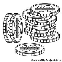 Monnaies dessin – Coloriage économie à télécharger