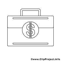 Portefeuille image à télécharger – Économie à colorier