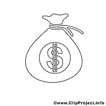 Sac argent clip art – Économie image à colorier