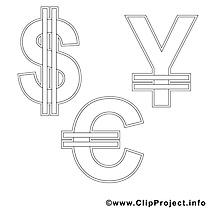 Symboles dessin à télécharger – Économie à colorier