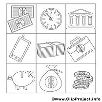 Travail clipart gratuit – Économie à colorier