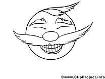 Coloriage émoticônes illustration à télécharger