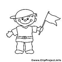 Drapeau garçon clipart gratuit – Enfants à colorier