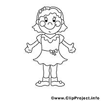 Fille clipart – Enfants dessins à colorier