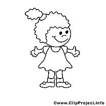 Petite fille image gratuite – Enfants à colorier
