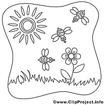 Abeilles soleil images gratuites – Été à colorier