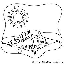 Bronzage soleil clipart gratuit – Été à colorier