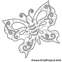 Coloriage papillon été illustration à télécharger