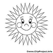 Coloriage soleil été image à télécharger