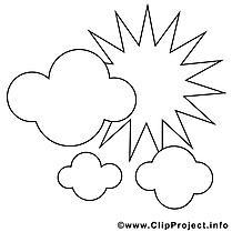 Dessin à télécharger nuages – Été à colorier