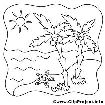 Étoile de mer palmes illustration – Été à imprimer