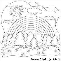 Forêt soleil dessin gratuit – Été à colorier