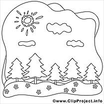Nuages forêt dessin – Été gratuits à imprimer