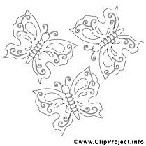 Papillons images gratuites – Été à colorier