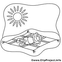 Plage soleil dessins gratuits – Été à colorier