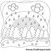 Pluie clipart – Été dessins à colorier