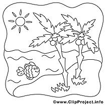 Poisson palmes soleil illustration – Été à imprimer