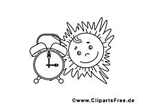 Réveil soleil clip art gratuit – Été à colorier