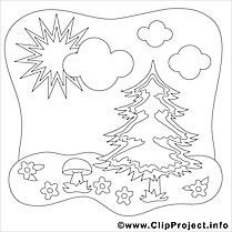 Sapin champignon clip art – Été image à colorier