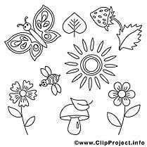 Soleil papillon clipart gratuit – Été à colorier