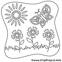Soleil papillon image – Coloriage été illustration