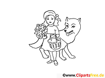 Chaperon rouge image – Coloriage conte illustration