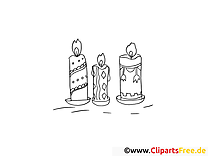 Bougies clipart – Soirée dessins à colorier
