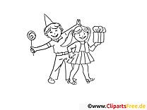 Cadeau fille clipart gratuit – Soirée à colorier