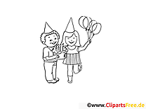 Enfants clip art gratuit – Soirée à colorier