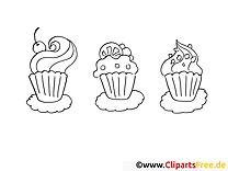 Petits gâteaux image gratuite – Soirée à colorier