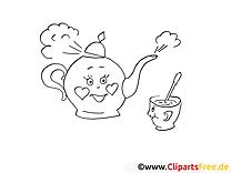 Théière clip art gratuit – Soirée à colorier