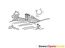 Chalet clip art – Campagne image à colorier