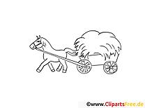 Charrette images gratuites – Campagne à colorier