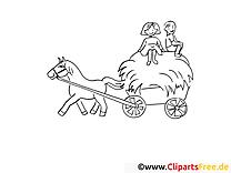 Cheval image – Campagne images à colorier