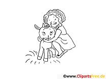 Chevreau clipart gratuit – Campagne à colorier