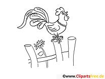Coq clip arts – Campagne à imprimer