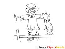 Épouvantail dessin gratuit – Campagne à colorier