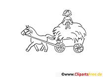 Foin clipart – Campagne dessins à colorier