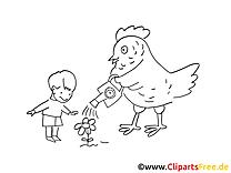 Poule clip art gratuit – Campagne à imprimer