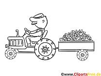 Tracteur dessin à télécharger – Campagne à colorier