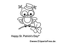 Hibou dessin gratuit – Saint-Patrick à colorier